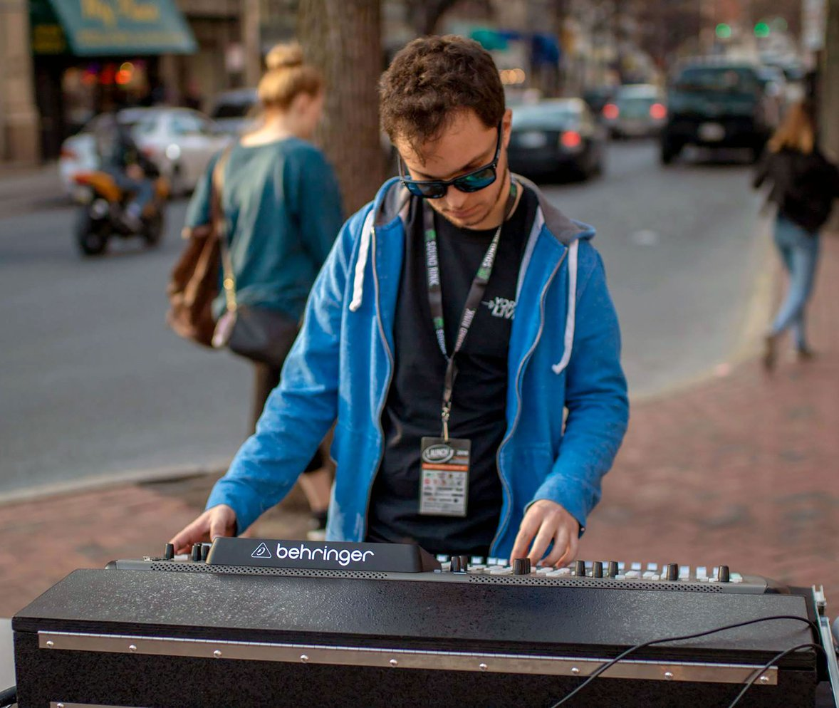 Student works the board at LAUNCH Music Festival.