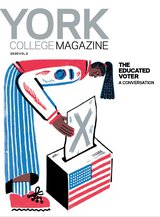 York College Magazine cover shows an illustration of a person dropping a ballot into a box