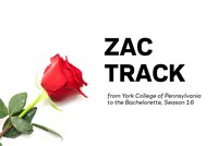 A red rose on a white backdrop and the words Zac Track: From York College of Pennsylvania to the Bachelorette Season 16