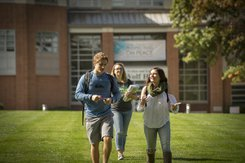 Students walking across York College campus to class