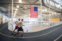The indoor track inside Grumbacher, one of many features that make it the ultimate spot for fitness and recreation.