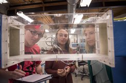York College engineering professors use hands-on learning with professional equipment.