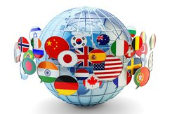 Stock image of multiple flags from around the world.