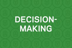 decision-making text on green background