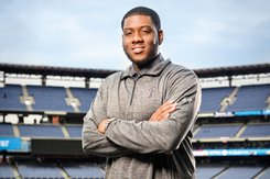 Jalen Green stands in front of the baseball field at Citizen's Bank Park.
