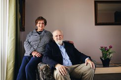 Barb and Don Myers sit in their home.