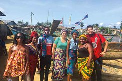 Cathy Cooper in Liberia with others