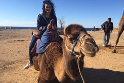 Student sits on camel while traveling abroad.