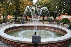 York College fountain in the fall