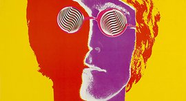 A multicolor pop art portrait of John Lennon