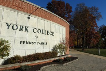 The York College of Pennsylvania sign on main campus