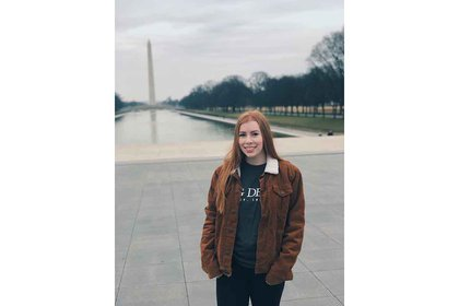 Skylar Monaghan pictured with Washington Monument