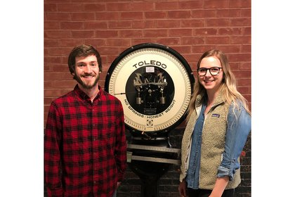 Taylor Schmidt '19 and Taylor Brown '19 stand in the Kinsley Engineering Center.