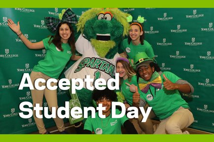 York College ambassadors pose for photo at Accepted Student Day event.