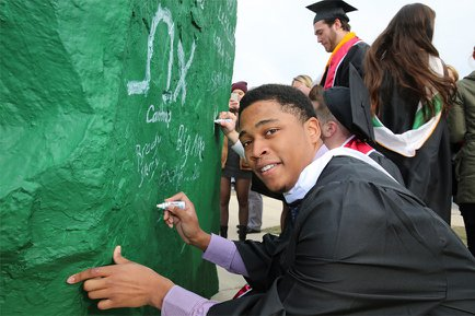 Signing York College's Old Spart green rock at December 2016 commencement