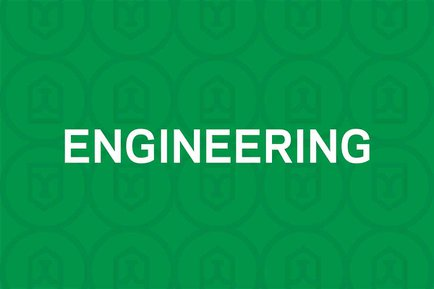 White engineering text on green background