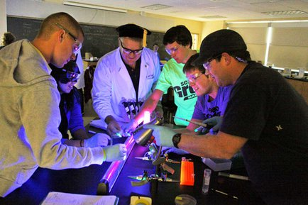 Hands-on class activity in a York College science lab
