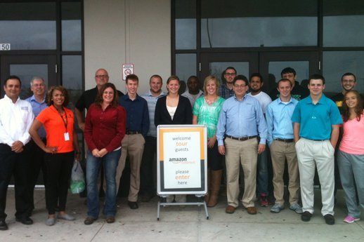 The York College supply chain club, APICS, visits the local Amazon fulfillment center