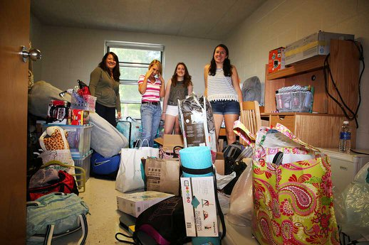Families moving in their freshmen on new student day 2015 at York College.