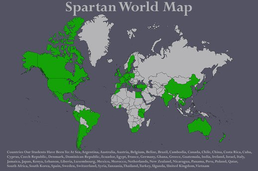 Map highlighting countries our students have been to (54 countries)