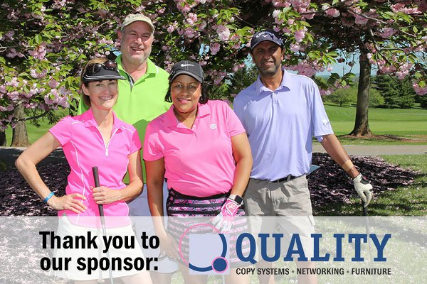 Alumni at golf outing. Thank you to our sponsor, Quality.