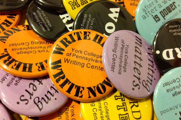 Buttons from the York College Writing Center