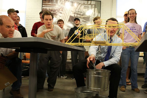A pasta bridge building competition at York College 2016