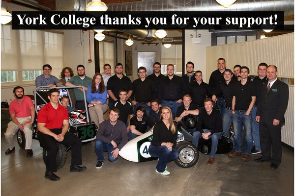 York College's YCP Race Team with baja and formula cars