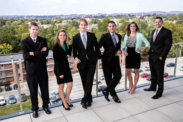 Business students on the Willman Business Center deck at York College.