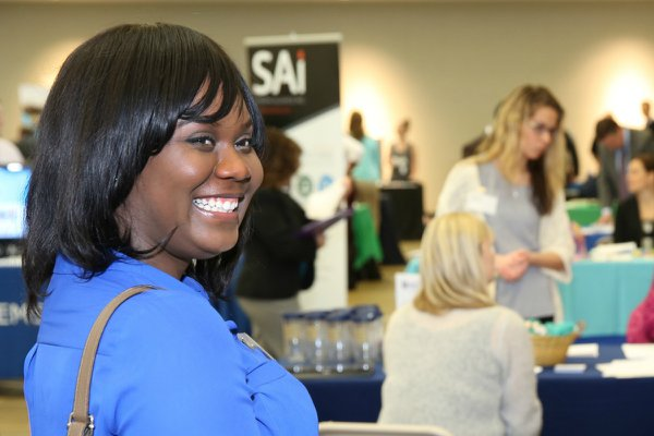Student participates in the career expo.