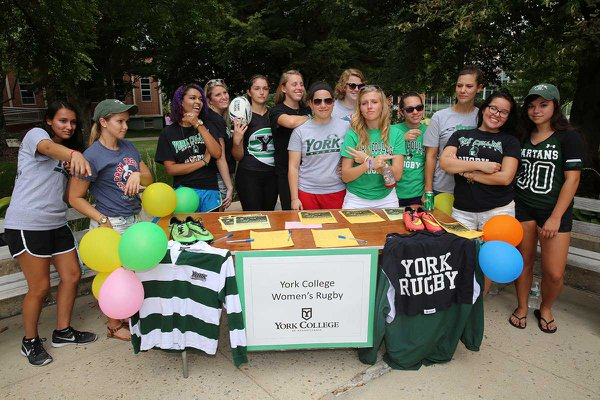 Women's Rugby club at a York College involvement fair