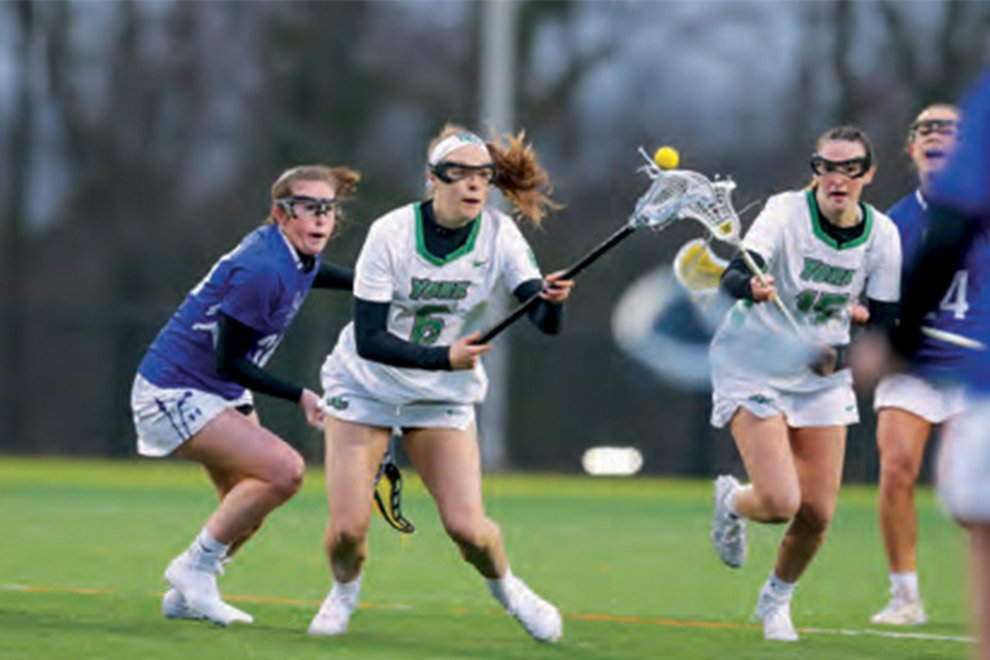 Women's lacrosse player Meghan Fox takes the field for YCP