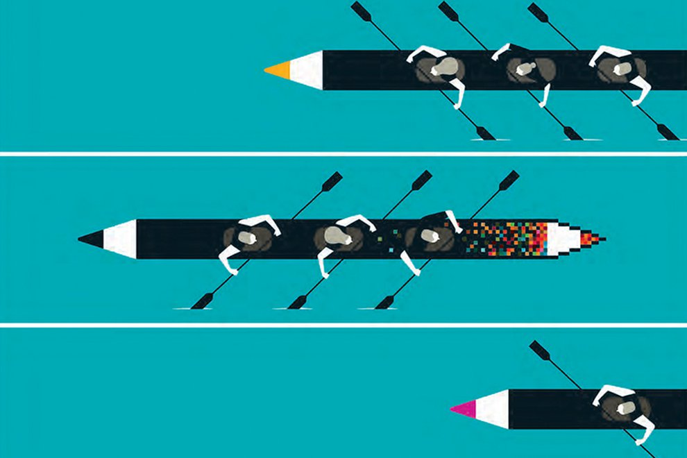 An illustration shows canoes carved from pencils, being rowed synchronously by a number of illustrated people