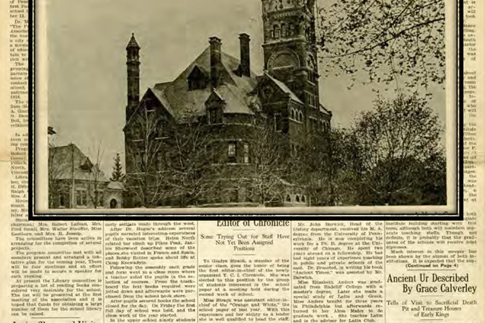 The front page of a yellowed copy of the old York Collegiate Institute Chronicle